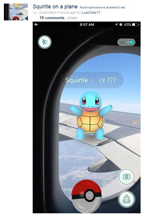 Pokemon GO Squirtle aeroplano