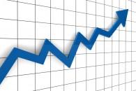 3d, graph, arrow, blue, success, finance, diagram