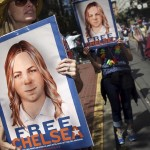 May 19, 2016 - San Francisco, CA, United States - People hold signs calling for the release of imprisoned wikileaks whistleblower Chelsea Manning while marching in a gay pride parade in San Francisco, California June 28, 2015. Manning has appealed to an Army court to overturn her court-martial conviction, a court filing released on Thursday said  (Credit Image: © Elijah Nouvelage/Reuters via ZUMA Press)