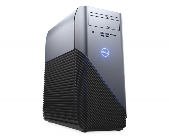 Inspiron 5675 Gaming Desktop, Standard Imagery, Codename: Red Skull, base configuration in titanium silver, shown with LEDs on and off.