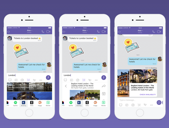 Viber Chat Extensions Booking Handset