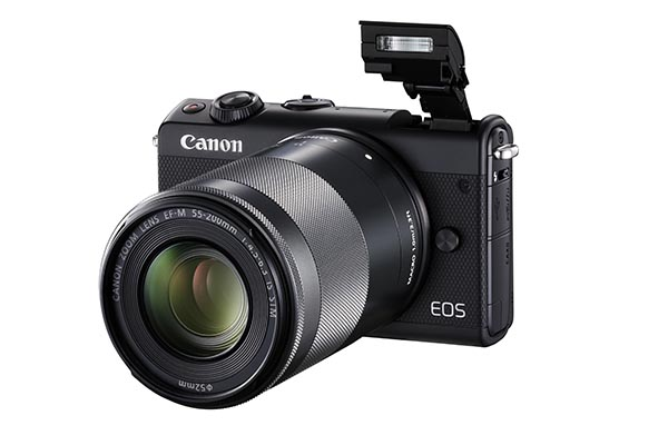 EOS_M100_Black_Front_Slant_Left_FlashUp_EF-M_55-250mm_IS_STM