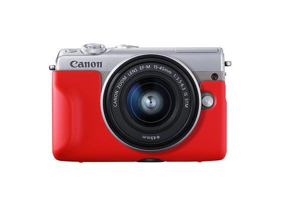 EOS_M100_Gray_Front_Red_Jacket_EF-M_15-45mm_IS_STM