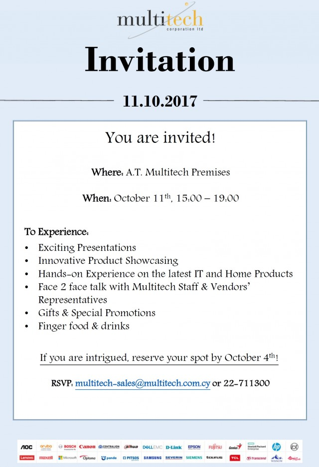 multitech hands on presentation invitation