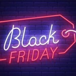 Black Friday neon sign, bright signboard, light banner. Big sale logo, emblem. Vector illustration.