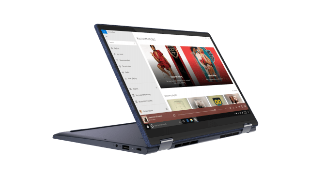 Lenovo Yoga 6 AMD Abyss Blue Fabric Stand Facing Right