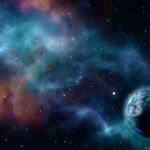 3D starry night sky background with abstract planet and nebula